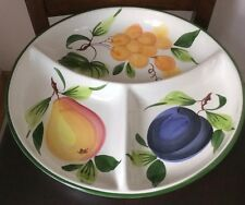 LARGE HAND PAINTED PIZZATO 3 SECTION DIVIDED SERVING DISH TRAY MADE IN ITALY G7