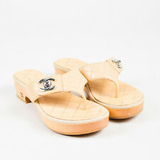 "Chanel Beige Quilted Leather Wood Heel ""CC"" Thong Sandals SZ 38"