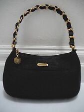 NEW ERIC JAVITS $370 Squishee black handbag with gold woven chain strap