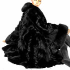 XL Vintage Fuchspelz Fuchs Pelzjacke Pelzmantel Schwarz black fox fur coat volpe
