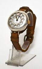 WW1 Silver Scharpnel Guard TRENCH WRIST WATCH // Working !! [PL1983]