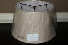 New Pottery Barn Burlap Upholstered tapered drum lamp shade small bleached