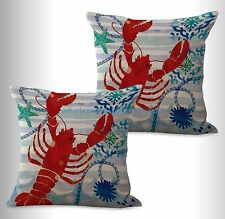 US SELLER- 2pcs marine nautical ocean animal lobster cushion cover couch pillows