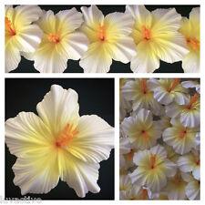 Hawaiian Foam Hibiscus Flower Hair CLIP  Natural White w/ Yellow Center