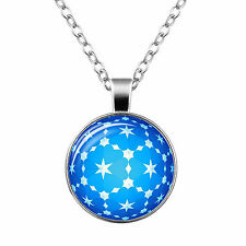 Vintage Style Glass Pendant Blue Sphere and White Stars Path Necklace N450