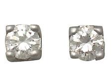 0.25 CT e Diamanti 18 ct Orecchini Oro Bianco-Vintage intorno al 1990
