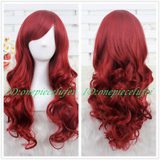 Princess Ariel Curly Wave Wine Red Cosplay Wig CC66B+a wig cap