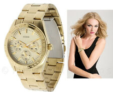 NEW GUESS CHASE GOLD BRACELET FEMININE DRESS LADY WATCH DAY DATE U12004L2 NWT