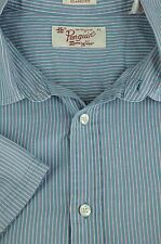 Penguin Men's Blue Purple & White Stripe Cotton Casual Shirt XL XLarge