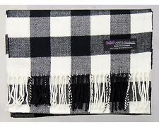 100% Cashmere Scarf Black White Tartan Check Plaid SCOTLAND Wool Women R92 Wrap