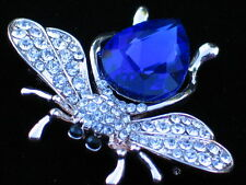 BLUE CLEAR GOLD BUG INSECT BEETLE WASP FLYING BUMBLE BEE PIN BROOCH JEWELRY 1.5""