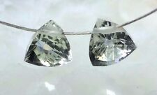 Green Amethyst PRASIOLITE Gemstone MicroFacet 5.5mm TRILLION Briolette Bead PAIR