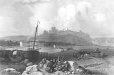 Kent, WHITE CLIFFS DOVER CASTLE FORTRESS HARBOR PORT ~ 1840 Landscape Art Print