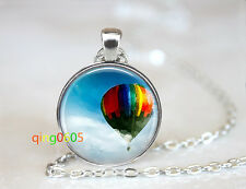 Up hot air balloon glass dome Tibet silver Chain Pendant Necklace wholesale