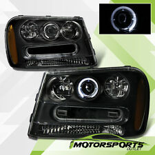 [LED Halo] 2002-2009 Chevrolet Chevy Trailblazer Projector Black Headlights Pair