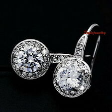White Gold Filled Swarovski Crystal Round Drop Dangle Bridal Silver Earring IE81