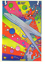 Vintage Peter Max Poster Print, 1960s Psychedelic Flower Power Wall Art, PAN Am