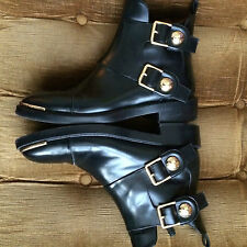 LOUIS VUITTON £1200..VGC.black biker boots 6 39 6.5 ..26cm SHOES GOLD studs