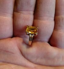 Antique 10k gold and huge yellow gemstone Cocktail ring sz 4.5