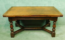 ENGLISH OAK DRAW LEAF EXTENDING DINING TABLE