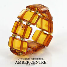 Opaque Fiery Orange BALTIC AMBER Elastic Ring RB030- RRP £35