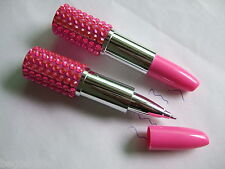 10pcs Hot Pink Bling Rhinestone Lipstick Shape BallPoint Pen Cute Fashion
