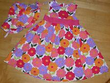 GYMBOREE PRETTY POSIES GREEN & ORANGE FLOWER DRESS HAT GIRLS 4 4T SPRING