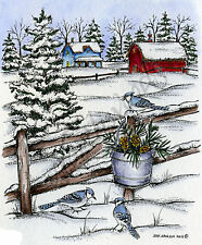 Blue Jay Bird Winter Farm Scene Wood Mounted Rubber Stamp NORTHWOODS - P9350 New