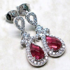 ATTRACTIVE 2 CT RUBY 925 STERLING SILVER STUD EARRINGS