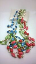 Vintage Jewllery Gorgeous Green Blue Pink Marble Plastic Bead Necklaces 1970s
