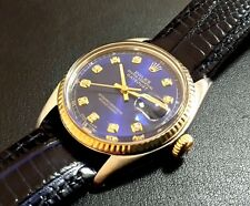 Stunning ROLEX Datejust Men's Watch~Customised Royal Blue Theme~Model 16013~WOW!