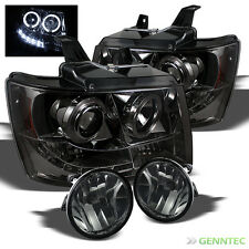 For Smoked 07-14 Avalanche Suburban Tahoe 2x Halo LED Pro Head Lights+Fog Lamp