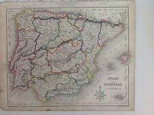 Spain & Portugal c1850 Original Antique Map 12.5x10 Gilberts Modern Atlas