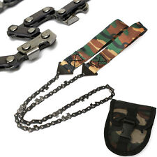 Camo Survival Chain Saw Hand ChainSaw Emergency Camping Tool Pocket Gear w/Pouch