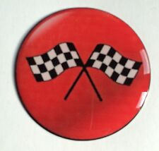 38mm WHEEL CAP CROSSED CHECK FLAG RESIN DOME 3D MINI FORD ESCORT CAR