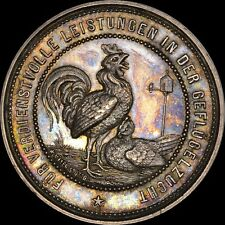 """ROOSTER"" DEGGENDORF GERMANY 1800's SILVER MEDAL GEM BU MS TONED PCGS & NGC I.T."