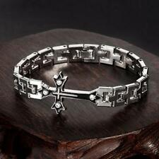 Cool Men's NF Stainless Steel Jewelry Crystal Cross Chain Link Bracelet 7.5""