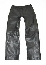 "Vintage Black Leather Straight Leg Biker Jeans Pants Trousers Size W33"" L30"""