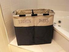 Folding Laundry Hamper Lights & Darks Twin Sorter Large Bin Bag Washing Basket