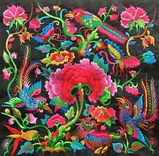 """NICE 12"""" Chinese antique tribal miao hmong machinemade embroidery Colorful Dream"""