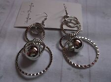 BRAND NEW SILVER PLATED CRINCKLED PATTERN FOUR HOOP AND BALL EARINGS
