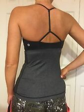 LULULEMON Yoga Stretch Top Workout Running Size 4 Black Gray Preowned Clean