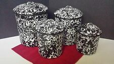 NEW CGS Splatter Enamelware Canister Set, Black & White NOS Vintage Primitive