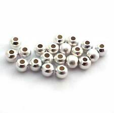 20 x STERLING SILVER  silky /satin 3mm beads