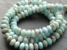 "HAND SHAPED NATURAL LARIMAR RONDELLES, approx 7mm - 7.3mm, 9"" strand"