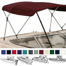 "BIMINI TOP BOAT COVER BURGUNDY 4 BOW 96""L 54""H 85""- 90""W - W/ BOOT & REAR POLES"