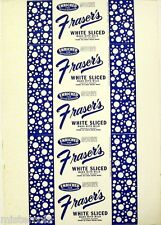 Vintage bread wrapper FRASERS WHITE SLICED Kelso Washington unused new old stock