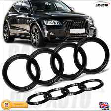 GLOSS BLACK GRILL & REAR BADGE RINGS AUDI LOGO Q3 Q5 SQ5 Q7 A7 Quattro Sline