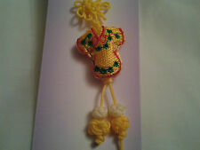 Fait main jaune chinese knot, charme, pendentif + broderie chinese robe