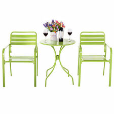 3PCS Outdoor Bistro Table Chair Furniture Set Table Patio Steel Bright Green